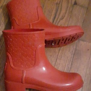 Red Coach Embossed Ankle Rain Boots Size 7